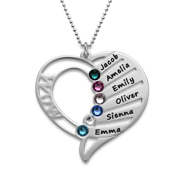 MyNameNecklace Engraved Mom Necklace with Swarovski Crystals-Personalized Heart Pendant-Precious Metals Sterling Silver&Gold Valentine Day Jewelry Gift Up to 6 Names
