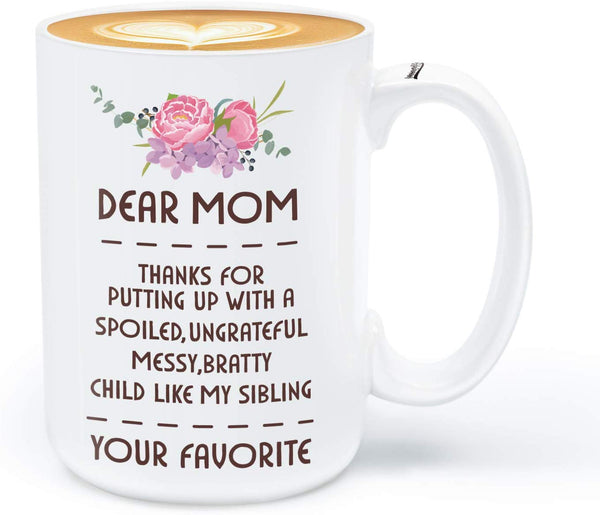 Coffee Mug for Mom, Birthday Gifts for Mom from Daughter Son,Dear Mom Coffee Mug, 15OZ Funny Coffee Mug