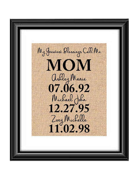 Christmas Gift for Mom | My Greatest Blessings Call Me Mom Burlap or Cotton Print | Gifts for Mom | Mother Gift | Birthday gift for Mom | Christmas gifts for Mom from Daughter