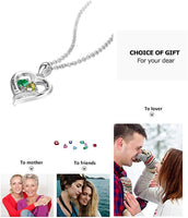 Personalized Sterling Silver Name Necklace for Mother with 2 Simulated Birthstones Womens Relationship Necklace Promise Necklace for Her Girlfriends Wifes Necklace for Women