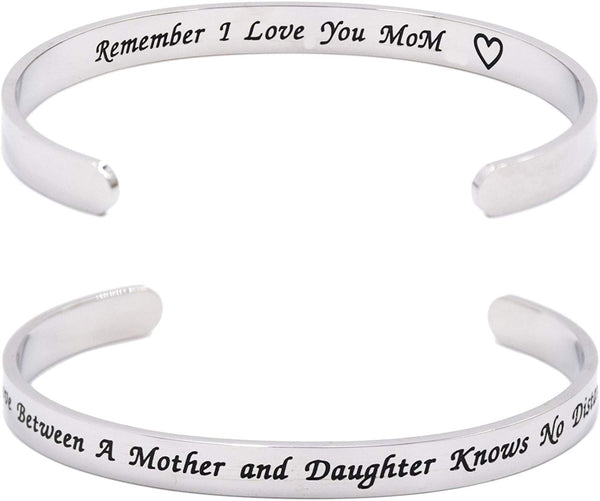 LParkin The Love Between Mother and Daughter Knows No Distance Remember I Love You Mom Cuff Bracelet