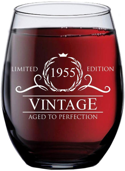 1955 65th Birthday Gifts for Women Men - 15 oz Stemless Wine Glass - 65 Year Old Gift Present Ideas for Mom Dad - Funny Vintage Unique Personalized - Party Anniversary Reunion Decorations Supplies