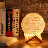 Engraved 3D Moon Lamp for Daughter,Personalized 5.9 Inch 3D Printing Moon Light Gift for Daughter Son Graduation Gift from Mom, from Dad (for Duaghter Form Mom)