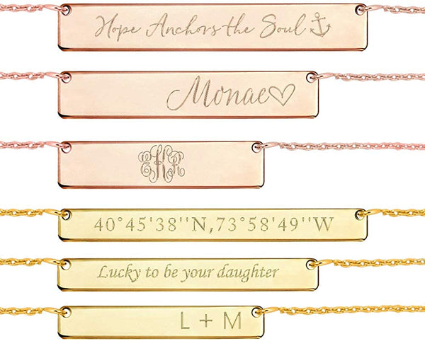 Joelle Jewelry Design Personalized Bar Necklace - Sterling Silver Name Necklace with Engravable Bar Pendant, Bridesmaid Gift Initial Necklace for Her