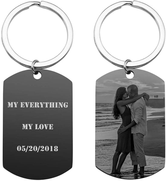 PESOENTH Personalized Photo Picture Keychain Eengraved Custom Text Stainless Steel Army Dog Tag Pendant Key Chain Ring for Men Women