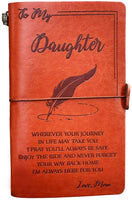 To My Daughter Leather Journal from Mom - Enjoy the Ride and Never Forget the Way Home Notebook - 120 Page Travel Diary Journal Sketch Book Graduation Back to School Gift for Girls