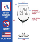 59 + 1 Middle Finger - 60th Birthday Wine Glass for Women & Men - Cute Funny Wine Gift Idea - Unique Personalized Bday Glasses for Best Friend Turning 60 - Drinking Party Decoration