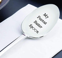 My Peanut Butter Spoon With Two Little Heart - Engraved Spoon Stainless Steel Silverware Flatware Unique Birthday Easter Basket Gifts For Boy Girl Mom Dad Kids - unique gifts - I love you - mom gift