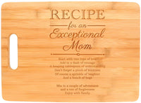 Mothers Day Gifts for Mom Recipe for an Exceptional Mom Mother Day Gifts Birthday Gifts for Mom Unique Gifts for Mom Big Rectangle Bamboo Cutting Board