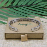 MEMGIFT Daughter Mother Bracelets Wide Cuff Bangle Message Engraved for Her