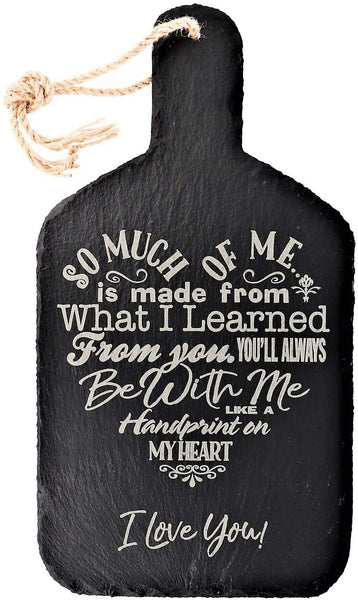 Mothers Gift – A Loving Heart Felt Poem Engraved in a Heart Shape Design on an Elegant Black Slate Cutting Board Mothers Day Birthday Christmas with Rope for Decor Hanging (7x13.5 Slate Paddle)
