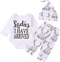 Imsmart Newborn Suit for Baby Shower Deer Print Long Sleeve Romper+Long Pants+Hat