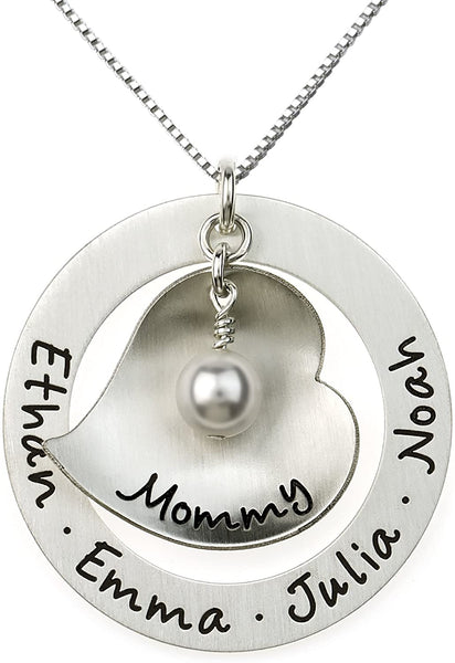 Big Hearted Personalized Sterling Silver Name Necklace. Customize with Names, Dates, Initials, or Endearing Words of your choice, such as Mama, Nana, Grandma,Mommy. Gifts for Her, Grandma, Mother