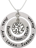 AJ's Collection Personalized My Family Tree Sterling Silver Graduation Necklace. Customize Round Charms. Choice of Sterling Silver Chain. Great Gift Idea for Grandmother and Moms. Iconic Family Tree.