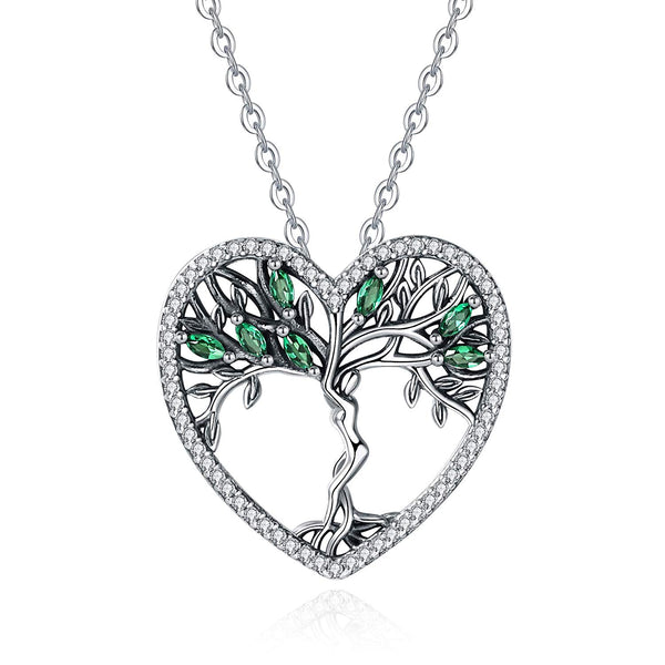 INFUSEU Tree of Life Pendant Necklace Sterling Silver Women Cubic Zirconia Jewelry, 18 Inch Chain