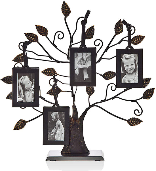 Philip Whitney Metal Family Tree Picture Frames with 4 Hanging Photo Frames, Medium