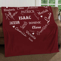 "Personalized Name Blankets for Baby, Kids and Adults, Mom, Grandma. Custom Name Blanket from Your Names. Close to Heart Customized Throw. Gift for Mothers Day, Christmas (Burgundy, Fleece 50"" x 60"")"