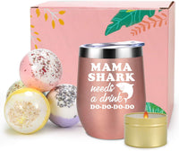 Coolife Bath & Wine Valentines Day Gift Sets for Mom, Wife, New Mom, Her - Mom Gifts from Daughter, Son - Funny Birthday Gifts for Women - Includes Mama Shark Wine Tumbler, Scented Candle, Bath Bombs