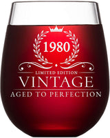40th Birthday Gifts for Women and Men Turning 40 Years Old - 15 oz. Vintage 1980 Wine Glass - Funny Fortieth Gift Ideas, Party Decorations and Supplies for Him or Her, Husband, Wife, Mom, Dad