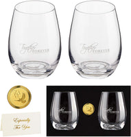 Anniversary Gift- Crystal Stemless Wine Glasses Set of 2 | Precision Lead Free Hand Blown | Large 22oz | Ready To Go gift, gift card + engravable gold coin | Anniversary Gift for Couple, Wedding Gift