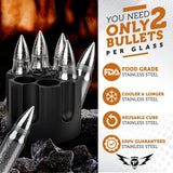 Bullet Shaped Metal Whiskey Stones - 6-Pack Stainless Steel Whiskey Rocks | Metal Ice Cubes to Chill Bourbon, Scotch in Your Whisky Glass - Cool Gifts for Men, Father's Day, Christmas Stocking Stuffer