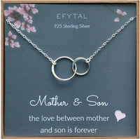 EFYTAL Mother Son Necklace, Sterling Silver Two Interlocking Infinity Circles,Mothers Day Jewelry Birthday Gift