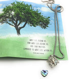 Smiling Wisdom - Tree Locket with Abalone Heart Necklace & Encouraging Inspiring Message Gift Set - Her Female Woman Sister Friend Daughter Teacher Mom - Abalone & Silver