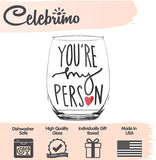 You're My Person 15oz Stemless Wine Glass - BFF Gifts - Gift for Best Friend Woman - Bestfriend Gifts for Her - Best Friend Wine Glass - Greys Anatomy Wine Glass - Your My Person Gifts