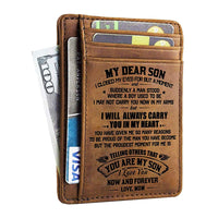 Minimalist Wallets Gift for Son from Mom - Engraved Leather Front Pocket Wallet - Custom Wallet RFID Blocking