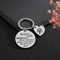 Mothers and Daughters Keychain Birthday Gift for Mom from Daughter Jewelry, Stainless Steel Key Ring Engraved Mothers and Daughters Never Truly Part by Vallgox