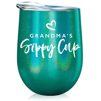 Grandma Gift Insulated Wine Tumbler - 12oz with Steel Straw, BPA Free Lid, Straw Cleaning Brush - Stainless Steel Stemless Wine Tumbler - Grandma's Sippy Cup - Coffee, Tea, White Wine