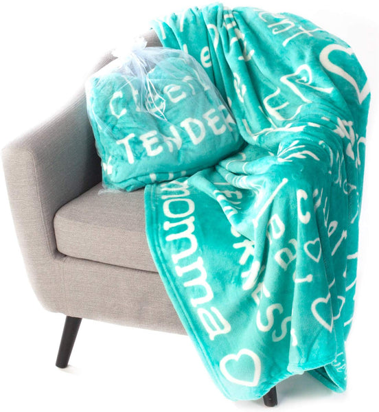 Blankiegram Mother Throw Blanket for Loving, Kind & Inspiring Moms | The Perfect Caring Gift (Teal)