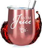 Mom Stainless Steel Wine Tumbler - 12oz with Steel Straw, BPA Free Lid, & Straw Cleaning Brush - Stemless Insulated Wine Tumbler with Lid - Gift for Mothers who Love Coffee, Tea - Mom Juice