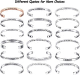 TONY & SANDY Inspirational Gifts Bracelet Cuff Bangle Mantra Quote Positive Saying Engraved Stainless Steel Silver Motivational Friendship Encouragement Jewelry for Teen Girls Kids Men