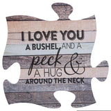 P. Graham Dunn I Love You a Bushel and a Peck Wood Look 12 x 12 inch Wood Puzzle Piece Wall Sign Plaque