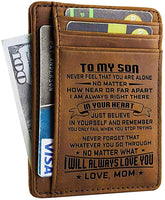 Mom Son Wallet - Engraved Leather Front Pocket Wallet (A - Son, mom will always love you)