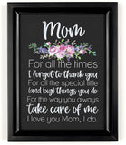 "Ocean Drop Mom Gift I 8""X10"" Framed and Ready to Hang I Best Gift for Mothers from Daughter, Son or Kids 