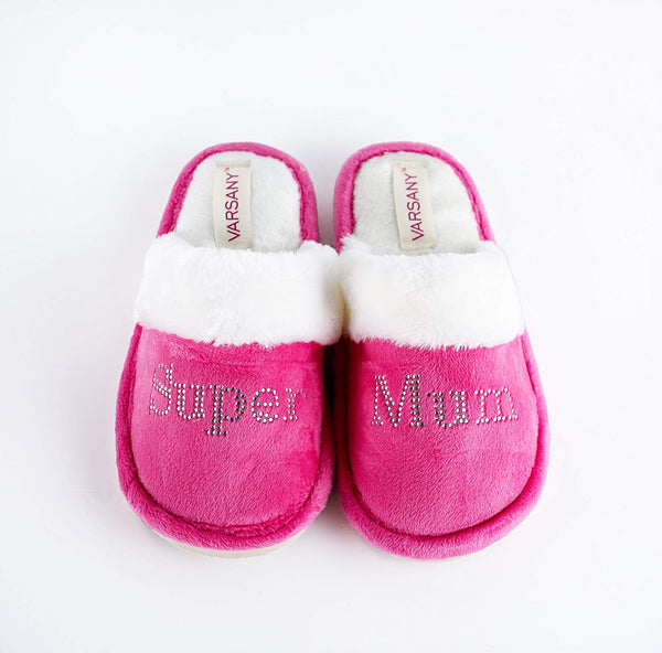 Varsany Pink Crystal Super Mom House Slippers Personalised Rhinestone Home Mothers Day