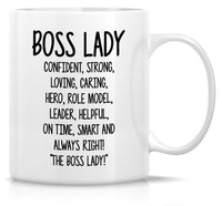 Boss Lady with Red High Heels Funny Coffee Mug - 11 oz - Ceramic -Gifts, Cups for Women, Girls, Mom, Lawyer