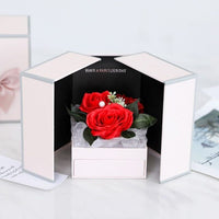 Sparkly Crystal Ring Rose flower Jewelry Gift Box and Surprise Romantic Valentine's Day Gifts Mother's day Party Favor Gifts