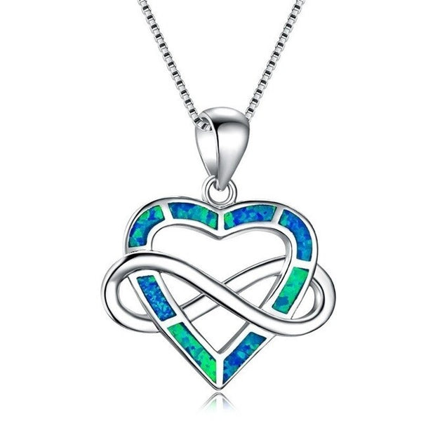 Luxury Infinity Letter 8 Heart Pendant Necklace Blue Fire Opals Silver Filled Necklace for Women Boho Jewelry Mothers Day Gift