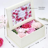 Soap Flower Box Romantic Valentine Birthday Wedding Handmade Gift with Photo Frame  Beautiful Bouquet Type 160x120x70mm Romantic