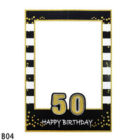 18th/21th/30th Years Old Black Gold Birthday Party Photo Booth Frame Bride Groom Wedding Photo Props Event Partys Decor Supplies