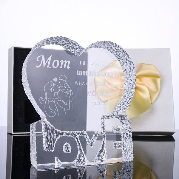 H&D Crystal Trophy Award Souvenir Glass Paperweight :Mom,I'll Always be here to Remind You of What a Wonderful Mother You are