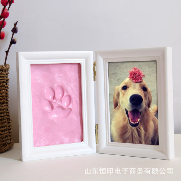 Hand And Foot Prints Pet Handprint Clay Wood Photo Frame Wooden Handprint Clay Set Long-term Souvenirs Mom And Baby