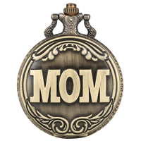 Retro Big MOM Letter Quartz Pocket Watch Necklace Pendant Chain Family Top Souvenir Gifts for Mom Mama on Mother's Birthday Day