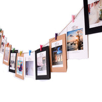 21pcs/set Home DIY Kraft Paper Photo Frame with Wooden Clip and String Hanging Wall Decration Birthday Party Wedding Decoration