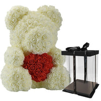 DropShipping 40cm Teddy Bear Rose with Heart Red Flower Artificial Decoration Gifts for Women Valentines Mother Day