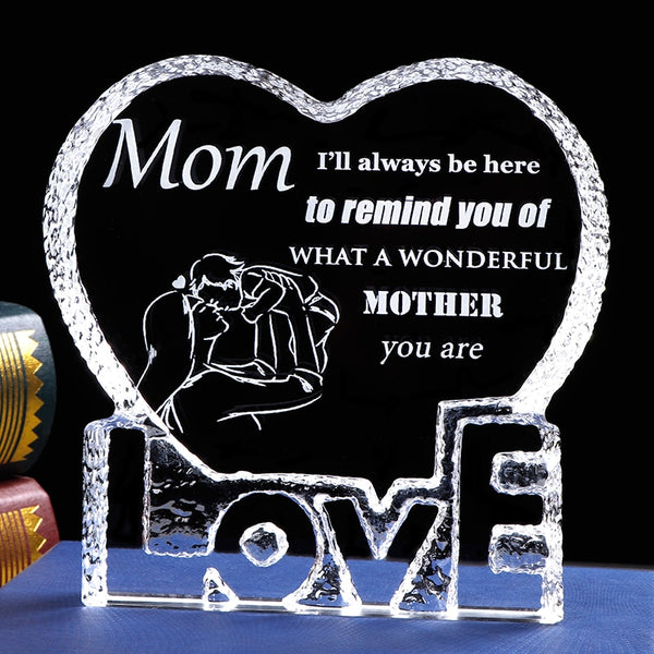 Crystal Mom Gift Laser Engraved Love Heart Present for Mom From Daughter Son Keepsake Birthday Gift Mother's Day Gift Mom