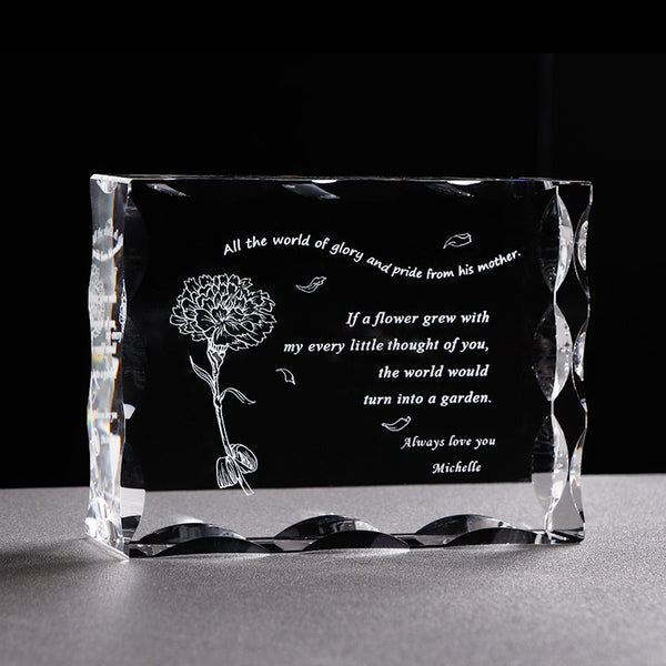 Customized Gift for Mom Glass Crystal Letter Frame Laser Engrave Present for Father Mother Personalized Souvenir Gift Birthday